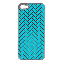 Brick2 Black Marble & Turquoise Colored Pencil Apple Iphone 5 Case (silver) by trendistuff