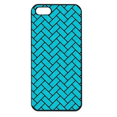 Brick2 Black Marble & Turquoise Colored Pencil Apple Iphone 5 Seamless Case (black) by trendistuff