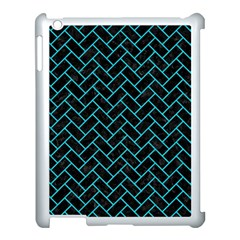 Brick2 Black Marble & Turquoise Colored Pencil (r) Apple Ipad 3/4 Case (white) by trendistuff