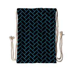 Brick2 Black Marble & Turquoise Colored Pencil (r) Drawstring Bag (small) by trendistuff