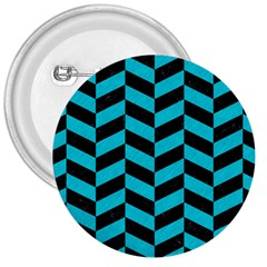 Chevron1 Black Marble & Turquoise Colored Pencil 3  Buttons by trendistuff