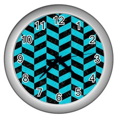 Chevron1 Black Marble & Turquoise Colored Pencil Wall Clocks (silver)  by trendistuff