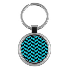 Chevron1 Black Marble & Turquoise Colored Pencil Key Chains (round)  by trendistuff