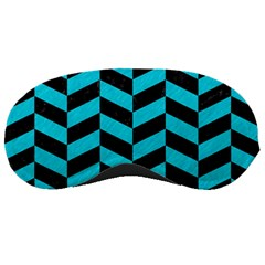 Chevron1 Black Marble & Turquoise Colored Pencil Sleeping Masks by trendistuff