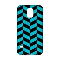 Chevron1 Black Marble & Turquoise Colored Pencil Samsung Galaxy S5 Hardshell Case  by trendistuff
