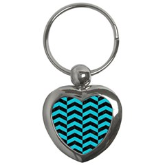 Chevron2 Black Marble & Turquoise Colored Pencil Key Chains (heart)  by trendistuff
