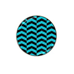 Chevron2 Black Marble & Turquoise Colored Pencil Hat Clip Ball Marker (4 Pack) by trendistuff