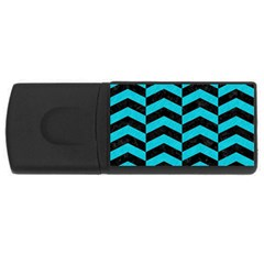 Chevron2 Black Marble & Turquoise Colored Pencil Rectangular Usb Flash Drive