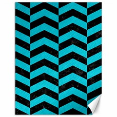 Chevron2 Black Marble & Turquoise Colored Pencil Canvas 12  X 16   by trendistuff