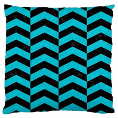 Chevron2 Black Marble & Turquoise Colored Pencil Standard Flano Cushion Case (two Sides) by trendistuff