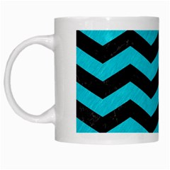Chevron3 Black Marble & Turquoise Colored Pencil White Mugs by trendistuff