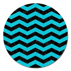 Chevron3 Black Marble & Turquoise Colored Pencil Magnet 5  (round)
