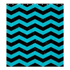 Chevron3 Black Marble & Turquoise Colored Pencil Shower Curtain 66  X 72  (large)  by trendistuff