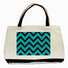 Chevron9 Black Marble & Turquoise Colored Pencil Basic Tote Bag by trendistuff