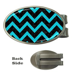 Chevron9 Black Marble & Turquoise Colored Pencil (r) Money Clips (oval)  by trendistuff