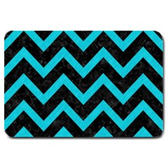 Chevron9 Black Marble & Turquoise Colored Pencil (r) Large Doormat