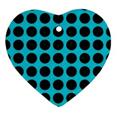 Circles1 Black Marble & Turquoise Colored Pencil Ornament (heart) by trendistuff