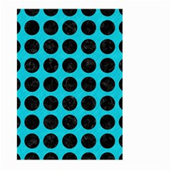 Circles1 Black Marble & Turquoise Colored Pencil Large Garden Flag (two Sides) by trendistuff