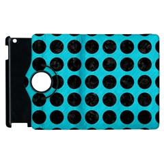 Circles1 Black Marble & Turquoise Colored Pencil Apple Ipad 3/4 Flip 360 Case by trendistuff