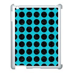 Circles1 Black Marble & Turquoise Colored Pencil Apple Ipad 3/4 Case (white) by trendistuff