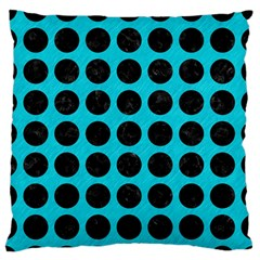Circles1 Black Marble & Turquoise Colored Pencil Large Flano Cushion Case (one Side) by trendistuff