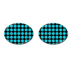 Circles1 Black Marble & Turquoise Colored Pencil (r) Cufflinks (oval) by trendistuff