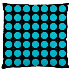 Circles1 Black Marble & Turquoise Colored Pencil (r) Large Cushion Case (one Side) by trendistuff