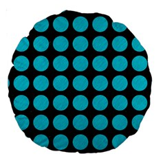 Circles1 Black Marble & Turquoise Colored Pencil (r) Large 18  Premium Round Cushions by trendistuff
