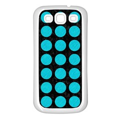 Circles1 Black Marble & Turquoise Colored Pencil (r) Samsung Galaxy S3 Back Case (white) by trendistuff