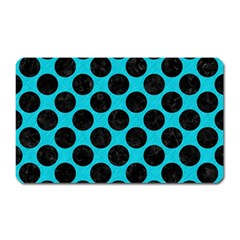 Circles2 Black Marble & Turquoise Colored Pencil Magnet (rectangular) by trendistuff