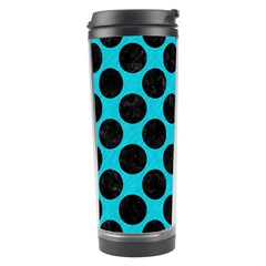 Circles2 Black Marble & Turquoise Colored Pencil Travel Tumbler by trendistuff