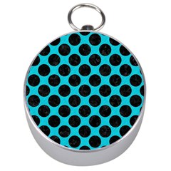 Circles2 Black Marble & Turquoise Colored Pencil Silver Compasses by trendistuff