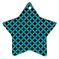 Circles3 Black Marble & Turquoise Colored Pencil (r) Ornament (star) by trendistuff