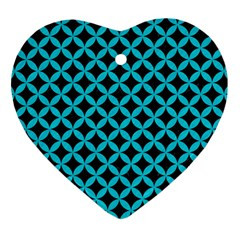 Circles3 Black Marble & Turquoise Colored Pencil (r) Heart Ornament (two Sides) by trendistuff