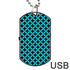 Circles3 Black Marble & Turquoise Colored Pencil (r) Dog Tag Usb Flash (two Sides) by trendistuff