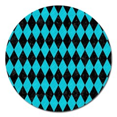 Diamond1 Black Marble & Turquoise Colored Pencil Magnet 5  (round) by trendistuff