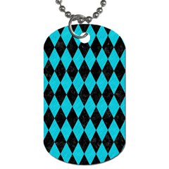 Diamond1 Black Marble & Turquoise Colored Pencil Dog Tag (one Side)