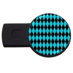 Diamond1 Black Marble & Turquoise Colored Pencil Usb Flash Drive Round (2 Gb) by trendistuff