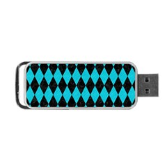 Diamond1 Black Marble & Turquoise Colored Pencil Portable Usb Flash (two Sides) by trendistuff