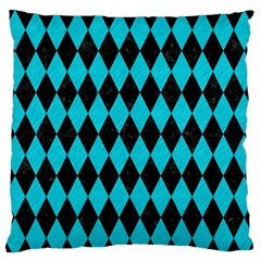 Diamond1 Black Marble & Turquoise Colored Pencil Standard Flano Cushion Case (one Side) by trendistuff