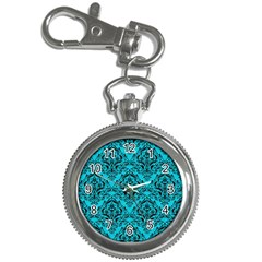 Damask1 Black Marble & Turquoise Colored Pencil Key Chain Watches by trendistuff
