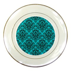 Damask1 Black Marble & Turquoise Colored Pencil Porcelain Plates by trendistuff