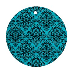 Damask1 Black Marble & Turquoise Colored Pencil Round Ornament (two Sides) by trendistuff