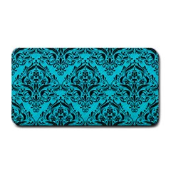 Damask1 Black Marble & Turquoise Colored Pencil Medium Bar Mats by trendistuff