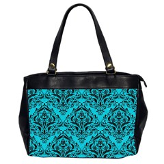 Damask1 Black Marble & Turquoise Colored Pencil Office Handbags (2 Sides)  by trendistuff