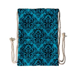 Damask1 Black Marble & Turquoise Colored Pencil Drawstring Bag (small) by trendistuff