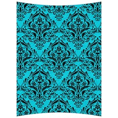 Damask1 Black Marble & Turquoise Colored Pencil Back Support Cushion