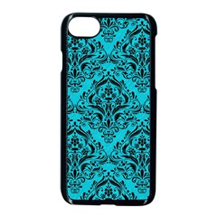 Damask1 Black Marble & Turquoise Colored Pencil Apple Iphone 8 Seamless Case (black) by trendistuff