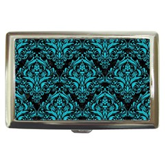 Damask1 Black Marble & Turquoise Colored Pencil (r) Cigarette Money Cases by trendistuff