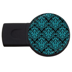 Damask1 Black Marble & Turquoise Colored Pencil (r) Usb Flash Drive Round (4 Gb) by trendistuff